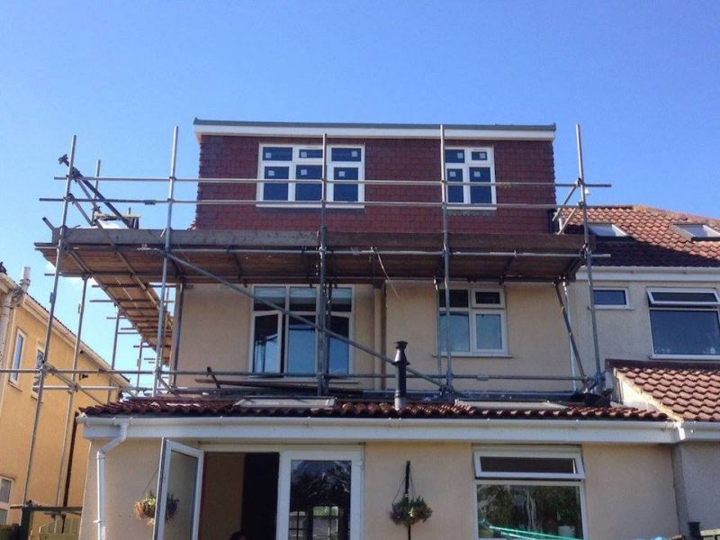 A Flat Roof Dormer Loft Conversion in Bristol with scaffolding surrounding