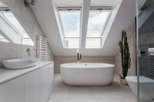A white modern bathroom loft conversion in Bristol